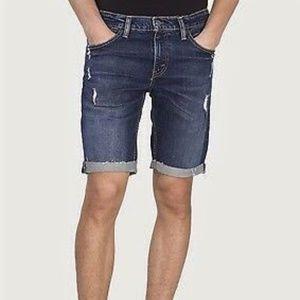 Levi's 511 Slim dark ripped cut off shorts EUC W33